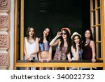 five beautiful young girls look ... | Shutterstock . vector #340022732