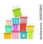 stack of colorful christmas... | Shutterstock .eps vector #340023842