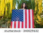 beautiful young woman with... | Shutterstock . vector #340029632