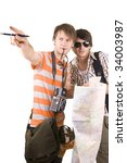 tourists with map | Shutterstock . vector #34003987