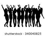 group of silhouette girls... | Shutterstock . vector #340040825