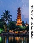 lights of tran quoc pagoda... | Shutterstock . vector #340047332