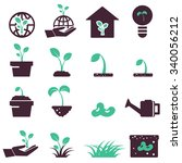 sprout icon set  symbols vector  | Shutterstock .eps vector #340056212