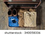 retro suitcase with casual... | Shutterstock . vector #340058336
