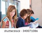 group of happy little school... | Shutterstock . vector #340071086