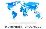 highly detailed blind world map ... | Shutterstock .eps vector #340075172