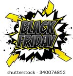 black friday   comic book style ... | Shutterstock .eps vector #340076852