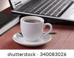 wooden desktop with morning... | Shutterstock . vector #340083026