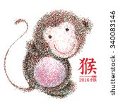 chinese year of the monkey ... | Shutterstock .eps vector #340083146