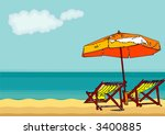 chair and umbrella on a... | Shutterstock .eps vector #3400885