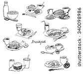 breakfasts set  homemade dishes ... | Shutterstock .eps vector #340098986