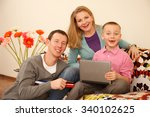 happy family   father mother... | Shutterstock . vector #340102625