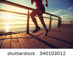 young fitness woman legs... | Shutterstock . vector #340103012