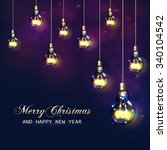 christmas vector card with... | Shutterstock .eps vector #340104542