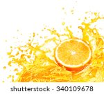 orange juice splashing with its ... | Shutterstock . vector #340109678