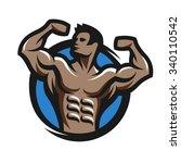 bodybuilder from the front... | Shutterstock .eps vector #340110542