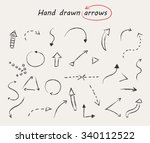 hand drawn arrows. doodle... | Shutterstock .eps vector #340112522