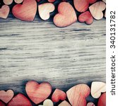 Background with wooden  hearts  ...