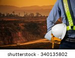 engineer holding a white helmet ... | Shutterstock . vector #340135802