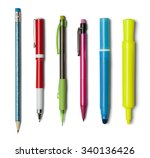 various pens pencils and... | Shutterstock . vector #340136426