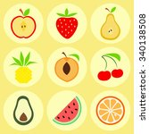 fruit icons  the set of icons... | Shutterstock .eps vector #340138508