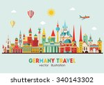 travel germany famous landmarks ... | Shutterstock .eps vector #340143302