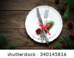 christmas table setting with... | Shutterstock . vector #340145816