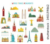 travel and tourism famous world ... | Shutterstock .eps vector #340159862