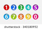 color icons numbers set carved... | Shutterstock . vector #340180952