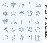 Line Happy Hanukkah Icons Set....