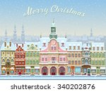 christmas card with cityscape... | Shutterstock .eps vector #340202876
