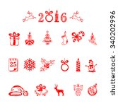 set of red christmas icons... | Shutterstock . vector #340202996