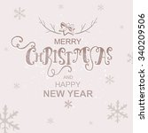 postcard merry christmas and... | Shutterstock .eps vector #340209506