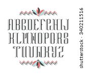 decorative serif latin font.... | Shutterstock .eps vector #340211516