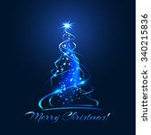 blue glow xmas tree  elegant...   Shutterstock .eps vector #340215836