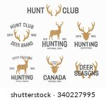 set of vintage hunting and deer ... | Shutterstock .eps vector #340227995