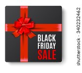 black gift box top view with... | Shutterstock . vector #340232462