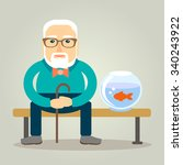an elderly man sits on a bench... | Shutterstock .eps vector #340243922