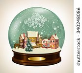 christmas snow globe with a... | Shutterstock .eps vector #340248086