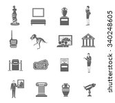 Museum Black Icons Set With...
