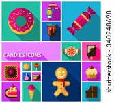 candy shadow icons set with... | Shutterstock .eps vector #340248698