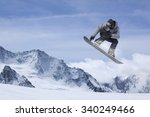 flying snowboarder on mountains.... | Shutterstock . vector #340249466