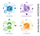 logistics design line icons set ... | Shutterstock .eps vector #340250636