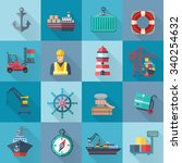 sea port flat icons set with... | Shutterstock .eps vector #340254632