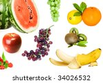 banana  grape  orange  lemon  ... | Shutterstock . vector #34026532