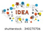 banner with business hand drawn ... | Shutterstock .eps vector #340270706