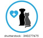 round veterinary icon with pet... | Shutterstock .eps vector #340277675