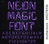 neon alphabet font. bright... | Shutterstock .eps vector #340278536