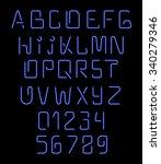 font neon. realistic brilliant  ... | Shutterstock .eps vector #340279346