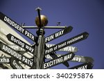 Small photo of Conceptual sign post. Directional sign with messages, fun, exciting, path of least resistance in one direction, and Drudgery Path, Boring, Arduous on other directions.